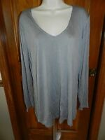 Old Navy Shirt Button Front Cotton Solid Gray M Top Womens Tee