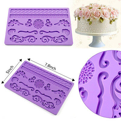 Silicone Lace Mold Mould Sugar Craft Fondant Mat Cake Decorating Sugarcraft Tool