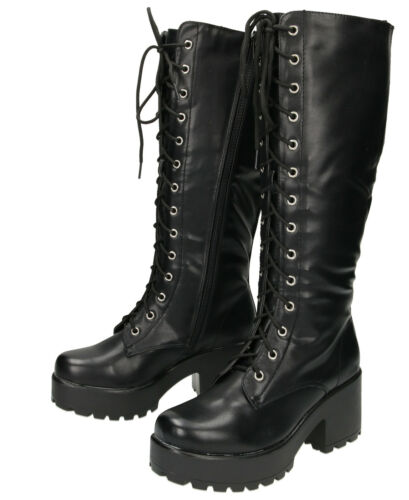 Black Chunky Heel Platform Gothic Punk Knee High Mid Combat Lace Up Boots