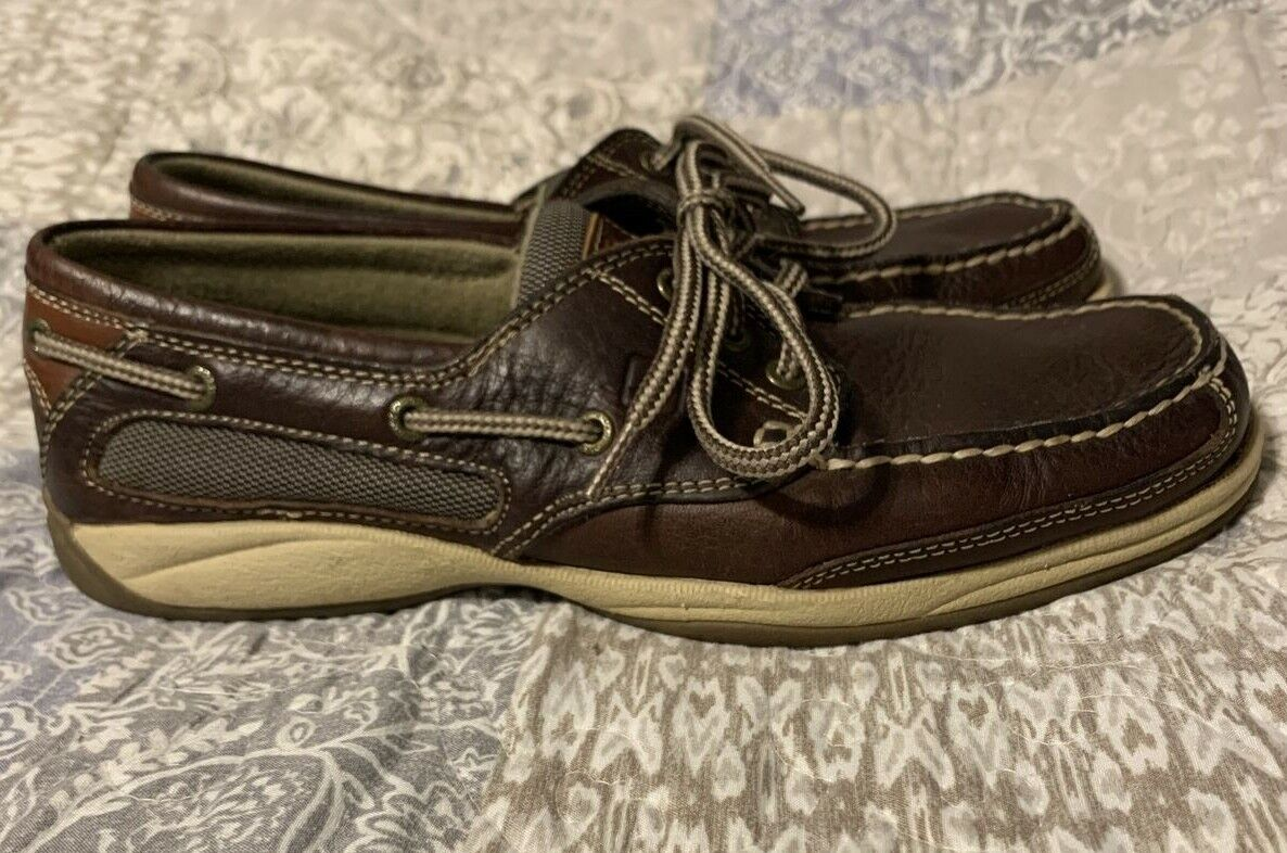 SPERRY Top-Sider Women's 8M Dark Brown Leather Boat Shoe EUC