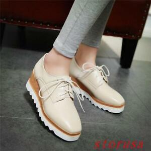 55fb35c54a4 Punk Womens Wedge Mid Heels 6CM Platform Lace up Brogue Oxford Shoes ...