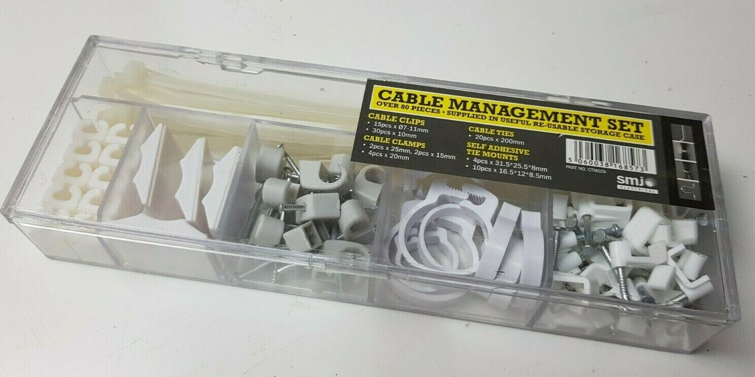 Cable management set Cable Clips, Ties, Clamps, Tie Mounts - NEW - Over 80 piece