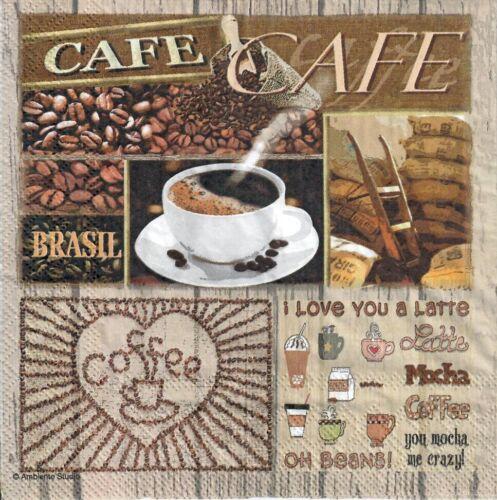 café cafetería Brasil Marrón 1052 4 Solo Papel Decoupage Servilletas tiempo de café