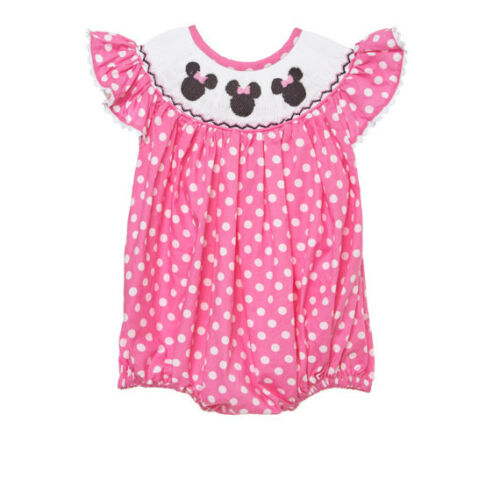 3 birthday girl pink New smocked Minnie mouse bubble romper  6m