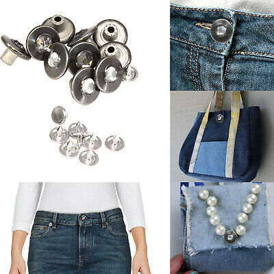 17mm Jeans Buttons Studs DIY Denim Jackets /& Coats Trousers with Pins Hammer On