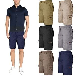 New Mens Chino Elastic Waist Slim Fit Shorts Cotton Casual Frayed ...