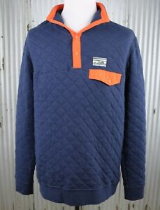 24cce45b5e0 Patagonia Cotton Quilt Snap-T Pullover Mens S small navy knit jacket ...