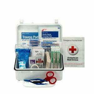 First Aid Kit, 10-Person, Plastic Box Home Office Emergency Supplies