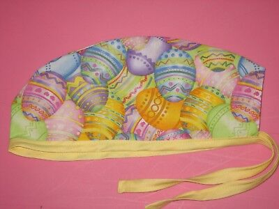 Surgical Scrub Hats caps  Easter   Bright Colored Easter Eggs