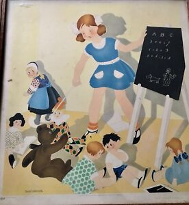1938-Vintage-Nursery-Framed-Print-The-First-Lesson-By-Willy-Schermele-Dutch