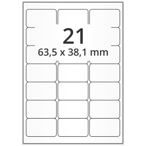 2100 Folien-Etiketten 64 x 38 mm PET Polyester transparent wetterfest