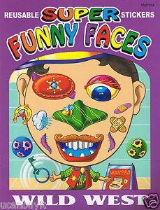 Wild west super funny faces sticker book ages 3 ebay - Wild west funny ...