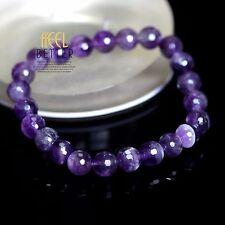Bracelet Elastique Un Rang Perle Améthyste Violet Vintage Retro CT7