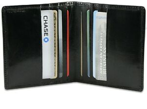 BLACK MENS GENUINE LEATHER Bifold 6 Credit Cards Wallet Thin ID Bill Holder