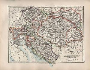 1904-ANTIQUE-MAP-AUSTRO-HUNGARIAN-MONARCHY-HUNGARY-BOSNIA-BOHEMIA-TYROL