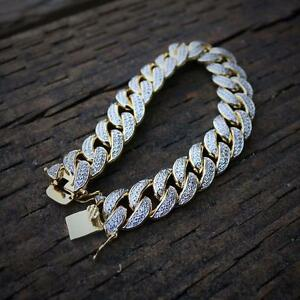Image Is Loading Iced Out Lab Diamond 18k Gold Cuban Link