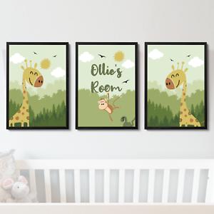 Personalised Safari Jungle Nursery Prints Boys Bedroom Baby Room Wall Art