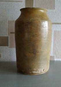 Antique-Storage-Crock-Jar-Glazed-Yellow-Stoneware-Ceramic-Pottery-Food-storage