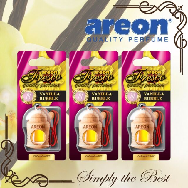 3x Areon Fresco Car Home Perfume Long Lasting Air Freshener Vanilla Bubble Scent