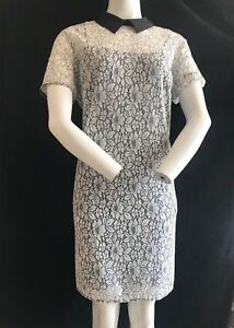 BNWT-MICHAEL-KORS-Floral-Lace-Effect-Black-Collar-Shift-Dress-Size-12-RRP-200