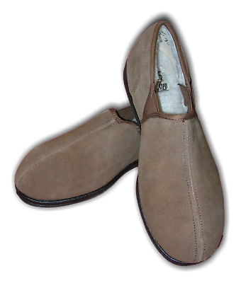 Mens Boys Slippers Quality Free Step SIMON Tan Suede Fur MRP £25 Sizes 7-12