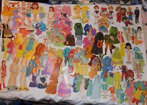Vintage-Paper-Dolls-Lot-of-over-100-Assorted-Dolls-amp-Clothes