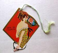 Vintage Bridge Tally Diamond Shape Woman w/ Hand Fan