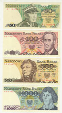 POLAND 50,100,500,1000  ZLOTYCH {4 Different} ~ UNCIRCULATED {Total 4 Pcs Set}