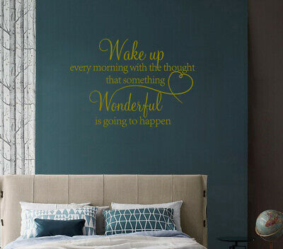 Wake up something wonderful happen Wall Stickers Art Quote Home Decor UK zx110