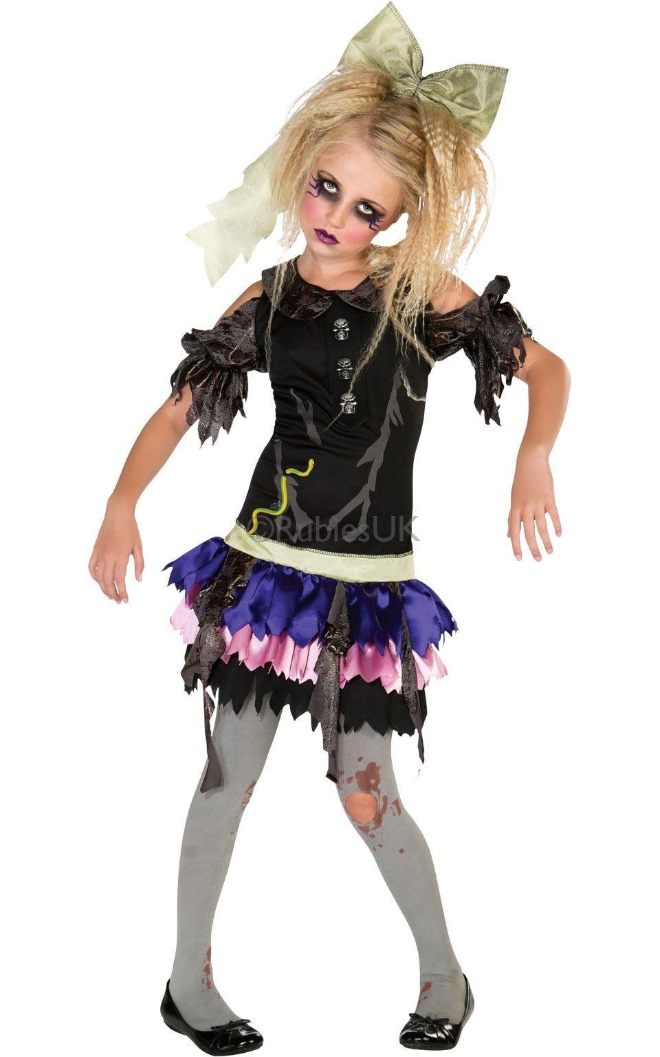 Zombie Doll Walking Dead Girls Halloween Horror Fancy Dress Costume