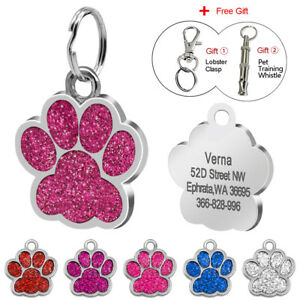 Paw-Pet-ID-Glitter-Tag-Dog-Puppy-Cat-Kitten-Name-Tags-Disc-Personalised-Engraved
