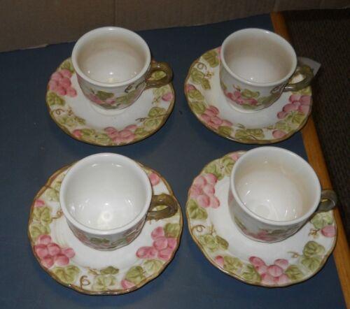 4 CALIFORNIA METLOX POTTERY POPPYTRAIL PINK SCULPTURED GRAPE TEA CUPS SAUCERS