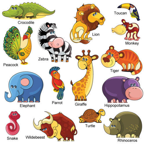 Kids Childrens Cute Jungle Safari Animal Wall Stickers VectCartoonSafari SAFR.3