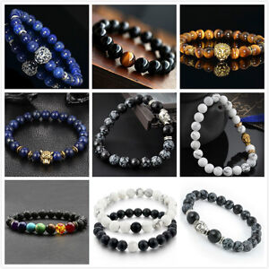 Men-Women-Natural-Gemstone-Beads-Lava-Rock-Stone-Bracelet-Lion-Buddha-Head-Bead