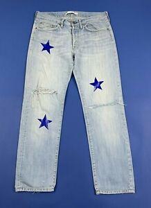 Mauro-grifoni-stars-jeans-uomo-usato-destroyed-W34-tg-48-denim-boyfriend-T5229