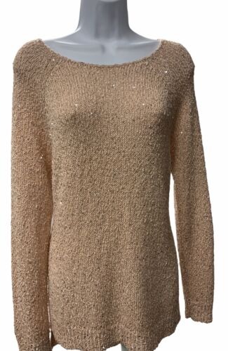 Chico's Sequin Claire Knit Sweater Womens Light P… - image 1