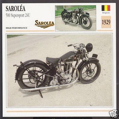 1929 Sarolea 500cc Supersport 24u Belgium Bike Motorcycle Photo Spec Info Card Ebay