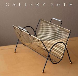 VTG ATOMIC MODERN MAGAZINE RACK! 50S 60S MID CENTURY INTERIOR DESIGN BRASS RETRO