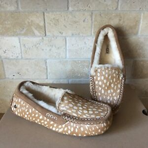 e16b8416983 Details about UGG Ansley Idyllwild Chestnut Cow Hair Moccasins Slippers  Shoes Size 7 Womens