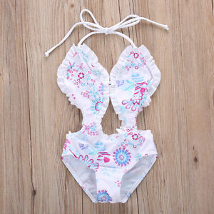 fc02b0c8b9 USA Toddler Kids Girl Floral Tankini Bikini Split Swimwear Swimsuit ...