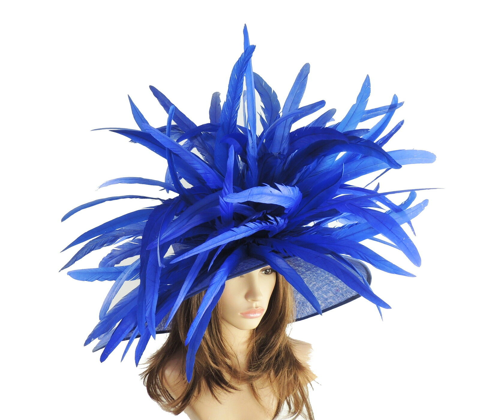 Royal Blue Large Ascot Hat for Weddings, Ascot, Derby HC1