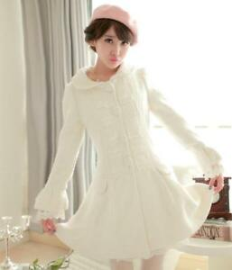 Hvid Slank Blonde Outwear Kjole N1 Piger Trench Kvinders Uld Frakke Blend Sød qRaxf