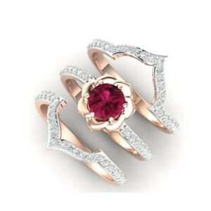 Luxury Queen Crown Pear Cut Ruby CZ Band Ring Silver//Rose Gold Wedding Jewelry