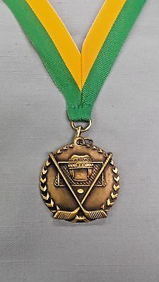 100% Vero Hockey Medaglia Oro Con Verde/oro Collo Nastro Trofeo
