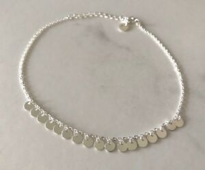 Genuine-925-Sterling-Silver-Circles-Discs-Chain-Anklet-Women-Girls-Children