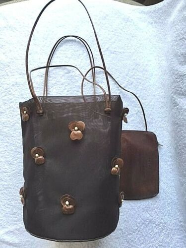 PRADA VERY RARE VINTAGE BUCKET BAG w LEATHER FLORE