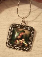 Swirled Rim Silvertn Square Madonna Mary Cuddling Jesus Cameo Pendant Necklace