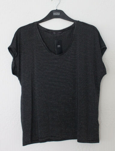 M/&S Collection Size 10 14 V Neck Top Metallised Stripe Pale Citrus Black
