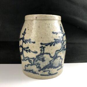 """🟢 Wolff Studio Pottery Blue Glazed Red Clay Stoneware 4"""" Jar Crock 1991"""