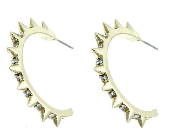 """Gothic Punk Hip Hop Gold Spiked half Hoop Crystal Bling Earrings 1 1/4"""" Hoop"""